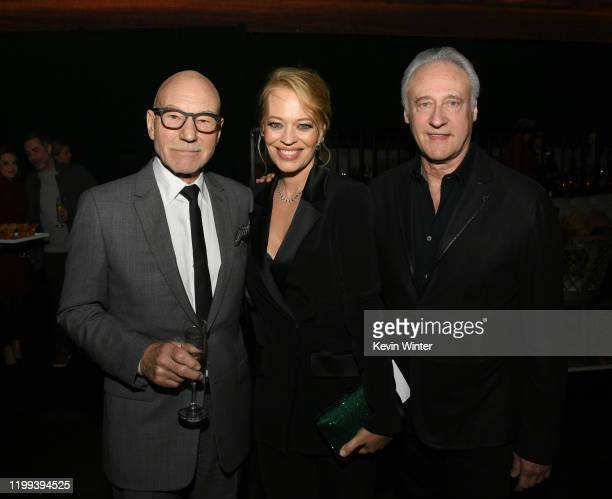 Patrick Stewart Jeri Ryan and Brent Spiner pose at the after party for the premiere of CBS All Access' Picard at The Academy on January 13 2020 in...