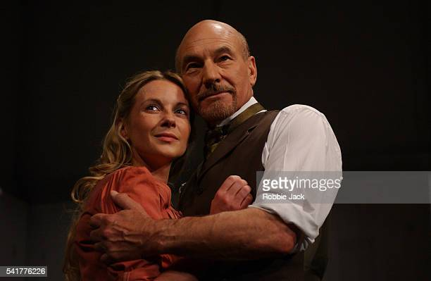 Patrick Stewart Lisa Dillon in the production The Master Builder at The Albery Theatre London