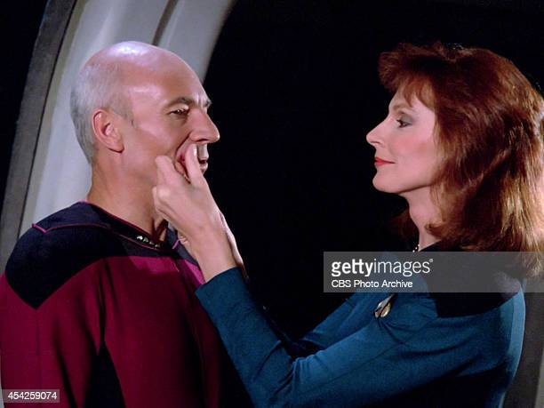 Patrick Stewart plays Captain JeanLuc Picard and Gates McFadden as Dr Beverly Crusher in the Star Trek The Next Generation episode The Big Goodbye...
