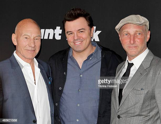 Patrick Stewart Seth MacFarlane and Jonathan Ames attend the premiere of STARZ 'Blunt Talk' at DGA Theater on August 10 2015 in Los Angeles California