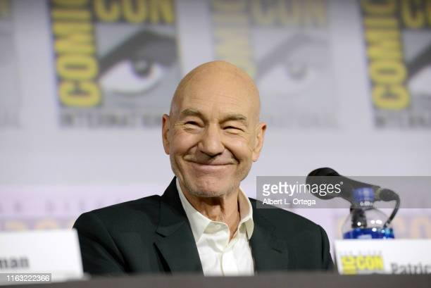 """Patrick Stewart speaks at the """"Enter The Star Trek Universe"""" Panel during 2019 Comic-Con International at San Diego Convention Center on July 20,..."""