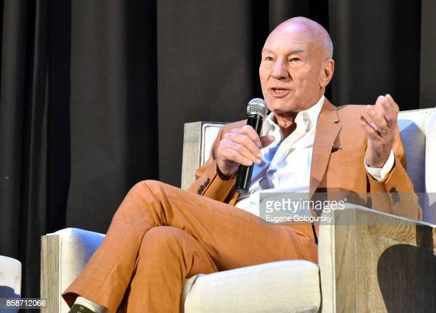 Patrick Stewart speaks on stage during A Conversation With… Patrick Stewart at East Hampton Middle School during Hamptons International Film Festival...