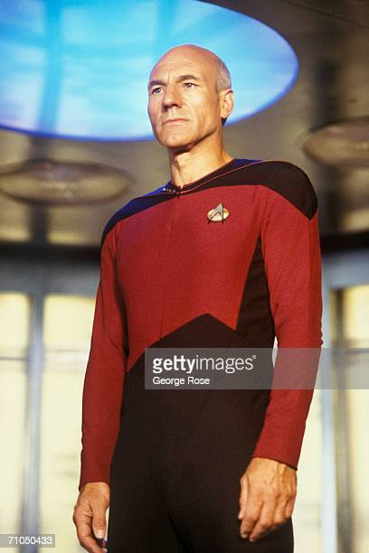 Patrick Stewart star of TV's 'Star Trek The Next Generation' prepares to 'engage' during filming at Paramount Studios in Hollywood California in 1987...
