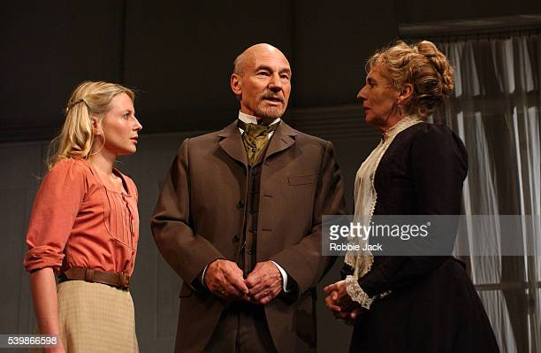 Patrick Stewart Sue Johnstone and Lisa Dillon in the production The Master Builder at The Albery Theatre London
