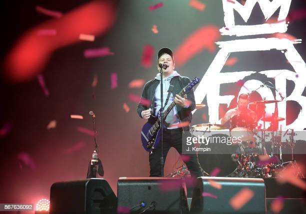 Patrick Stump and Andy Hurley of the band Fall Out Boy performs at Barclays Center of Brooklyn on October 28 2017 in the Brooklyn borough of New York...