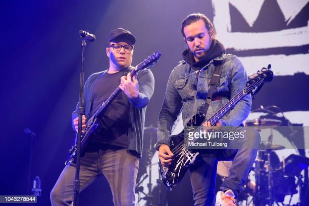 Patrick Stump and Pete Wentz of Fall Out Boy perform at Honda Center on September 29 2018 in Anaheim California