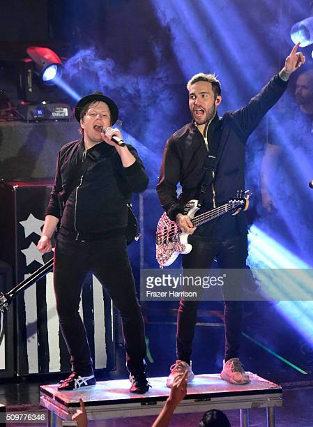 Patrick Stump and Pete Wentz of Fall Out Boy perform onstage during the go90 Live Concert Series Celebrating Super Bowl 50 at The Regency Ballroom on...