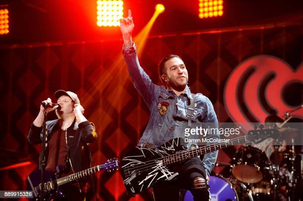Patrick Stump and Pete Wentz of Fall Out Boy perform onstage during KISS 108's Jingle Ball 2017 presented by Capital One at TD Garden on December 10...