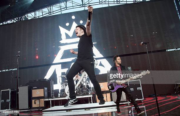 Patrick Stump and Pete Wentz of Fall Out Boy performs at Verizon Wireless Amphitheater on May 31 2014 in Irvine California