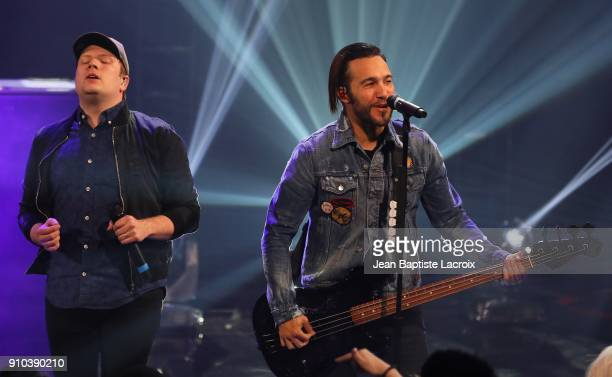 Patrick Stump and Pete Wentz of the Fall Out Boy perform on stage during the iHeartRadio Album Release Party With Fall Out Boy on January 26 2018 in...