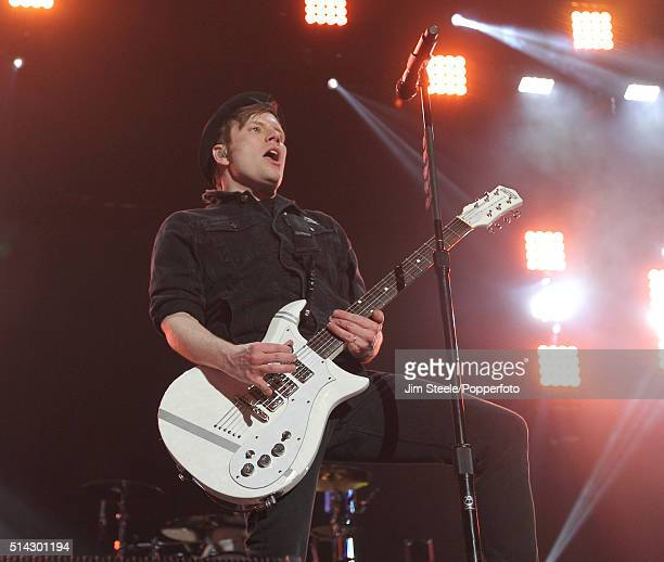 Patrick Stump of Fall Out Boy performing on stage at Wembley Arena on March 20th 2014 in London, United Kingdom.