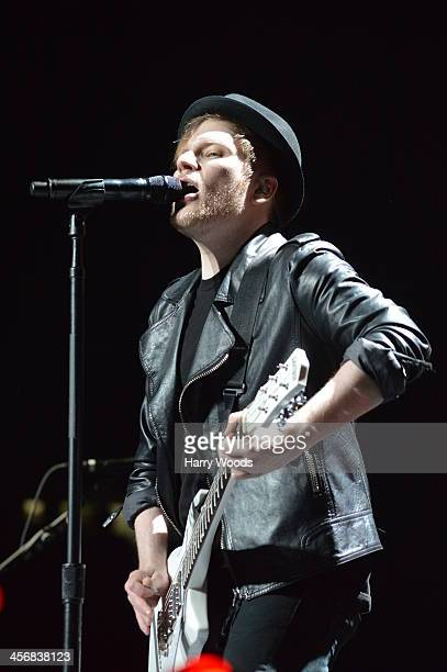 Patrick Stump of Fall Out Boy performs at KISS 108's Jingle Ball 2013 at TD Banknorth Garden on December 14 2013 in Boston Massachusetts