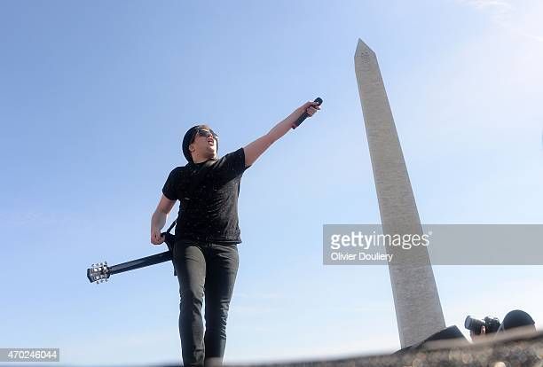 Patrick Stump of Fall Out Boy performs during Global Citizen 2015 Earth Day on the National Mall on April 18 2015 in Washington DC