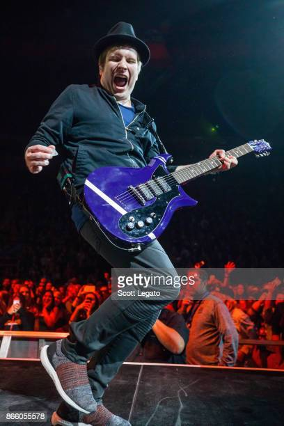 Patrick Stump of Fall Out Boy performs during the M A N I A Tour at Little Caesars Arena on October 24 2017 in Detroit Michigan
