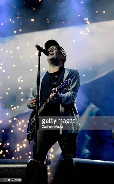 Patrick Stump of Fall Out Boy performs onstage at Nassau Veterans Memorial Coliseum on August 29, 2018 in Uniondale, New York