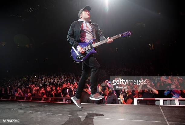 Patrick Stump of the band Fall Out Boy performs at Barclays Center of Brooklyn on October 28 2017 in the Brooklyn borough of New York City