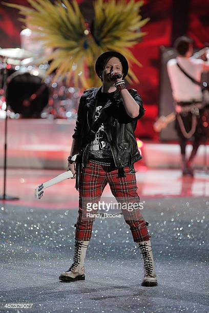 Patrick Stump of the band Fall Out Boy performs during the 2013 Victoria's Secret Fashion Show at Lexington Avenue Armory on November 13 2013 in New...