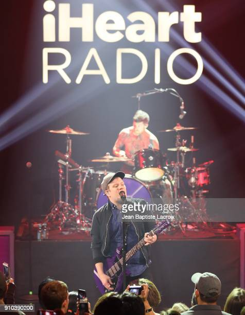 Patrick Stump of the Fall Out Boy performs on stage during the iHeartRadio Album Release Party With Fall Out Boy on January 26 2018 in Burbank...