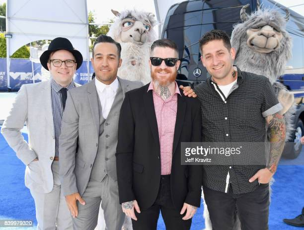 Patrick Stump Pete Wentz Andy Hurley and Joe Trohman of Fall Out Boy attend the 2017 MTV Video Music Awards at The Forum on August 27 2017 in...