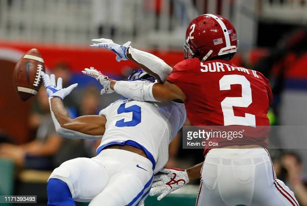 Patrick Surtain II of the Alabama Crimson Tide breaks up this touchdown reception intended for Jalon Calhoun of the Duke Blue Devils in the first...