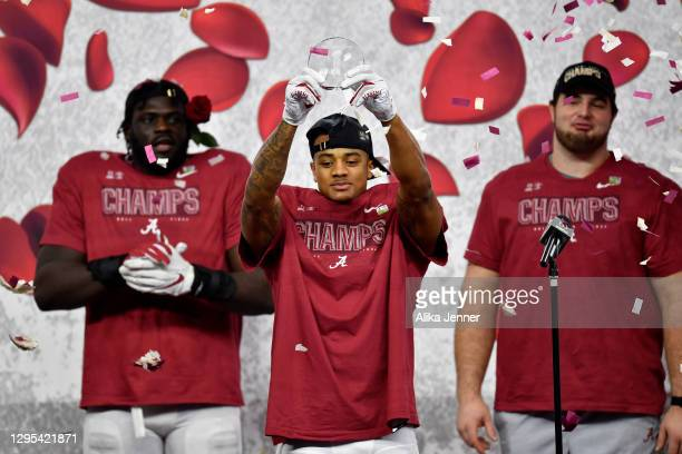 Patrick Surtain II of the Alabama Crimson Tide is named the Rose Bowl Defensive MVP award after the College Football Playoff Semifinal at the Rose...
