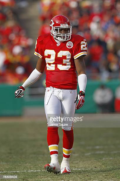 Patrick Surtain of the Kansas City Cheifs looks on during the NFL game against the San Diego Chargers at Arrowhead Stadium on December 2 2007 in...