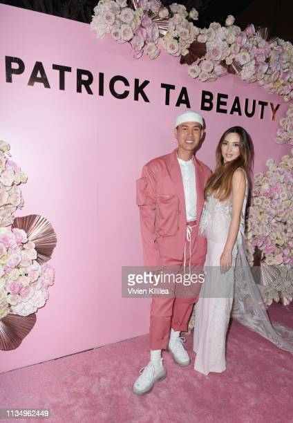 Patrick Ta and Megan Pormer attend Patrick Ta Beauty Launch on April 4 2019 in Los Angeles California