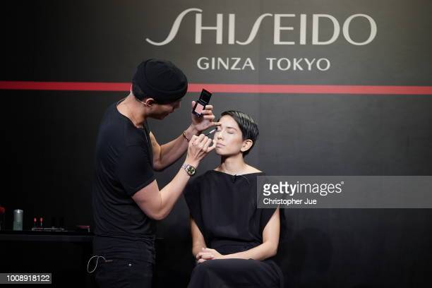 Patrick Ta and model Elena during Shiseido Masterclass with Patrick Ta on August 1 2018 in Tokyo Japan