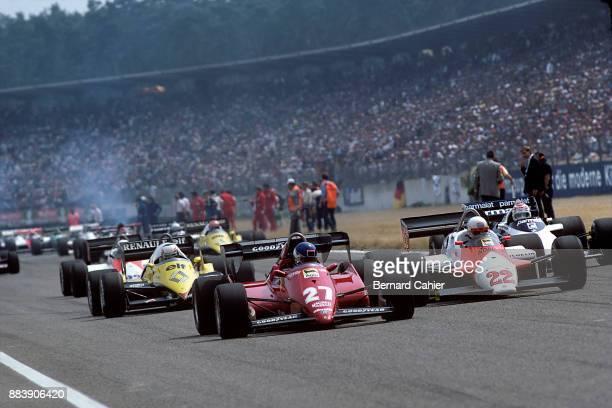 Patrick Tambay Andrea de Cesaris Alain Prost Nelson Piquet Ferrari 126C3 Alfa Romeo 183T Renault RE40 BrabhamBMW BT52B Grand Prix of Germany...
