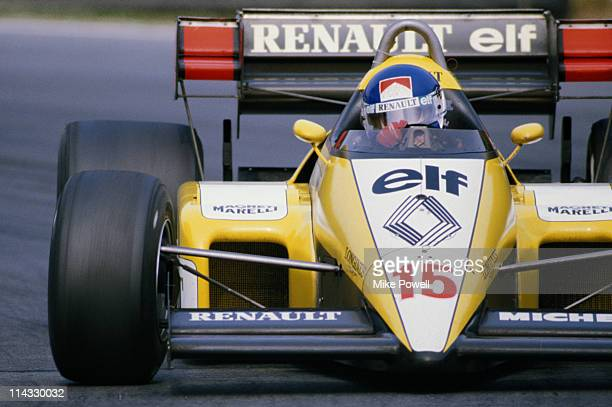 Patrick Tambay drives the Equipe Renault Elf Renault RE50 Renault 1.5 V6Turbo during the John Player Special British Grand Prix on 22nd July 1984 at...