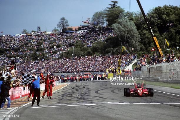 Patrick Tambay Ferrari 126C2B Grand Prix of San Marino Autodromo Dino Ferrari Imola 01 May 1983 Patrick Tambay takes the checkered flag and wins the...