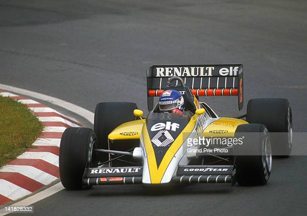 Patrick Tambay of France drives the Equipe Renault Elf Renault RE60 Renault V6 turbo during practice for the Portuguese Grand Prix on 20th April 1985...