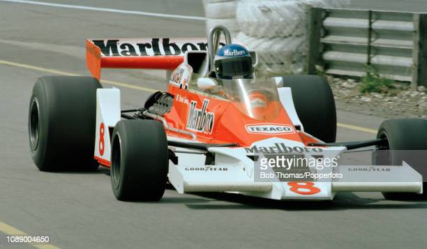 Patrick Tambay of France driving the McLaren M26 during the British Grand Prix at the Brands Hatch circuit in Fawkham, England on July 16, 1978.
