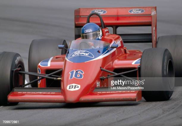 Patrick Tambay of France in action driving a Lol THL2 with a Cosworth V6 engine for Team Haas USA Ltd during the British Grand Prix at Brands Hatch...