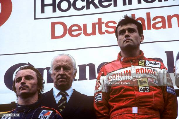 Patrick Tambay, Rene Arnouch, Prince Metternich, Grand Prix of Germany, Hockenheimring, 08 August 1982. Patrick Tambay's first victory in the 1982...