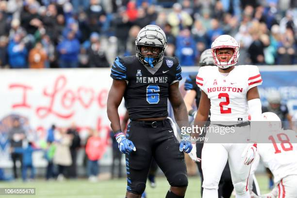 Patrick Taylor Jr. #6 of the Memphis Tigers celebrates after the run against the Houston Cougars during the first half on November 23, 2018 at...