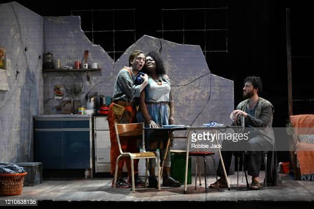 Patrick Terry as Joacim Masabane Cecilia Rangwanasha as Susanna and Michael Mofidian as Chelsias/Judge in The Royal Opera's production of George...