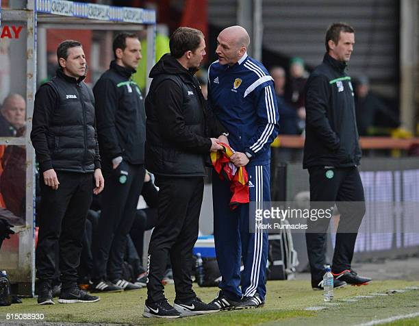 Patrick Thistle manager Alan Archibald argues with Fourth Official Bobby Madden over a decision to change the shirt of Adbul Osman during a crucial...