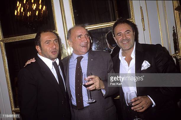 Patrick Timsit Claude Brasseur and Jose Garcia attend the Chateau Angelus Dinner Party at the Hotel Crillon on October 12007 In Paris France