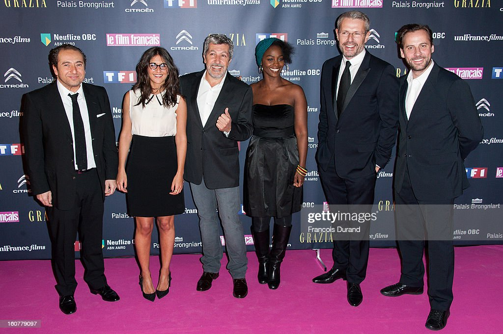 Patrick Timsit, Geraldine Nakache, Alain Chabat, Aissa Maiga, Lambert Wilson and Fred Testot attend the 'Trophees Du Film Francais' 20th Ceremony at Palais Brongniart on February 5, 2013 in Paris, France.