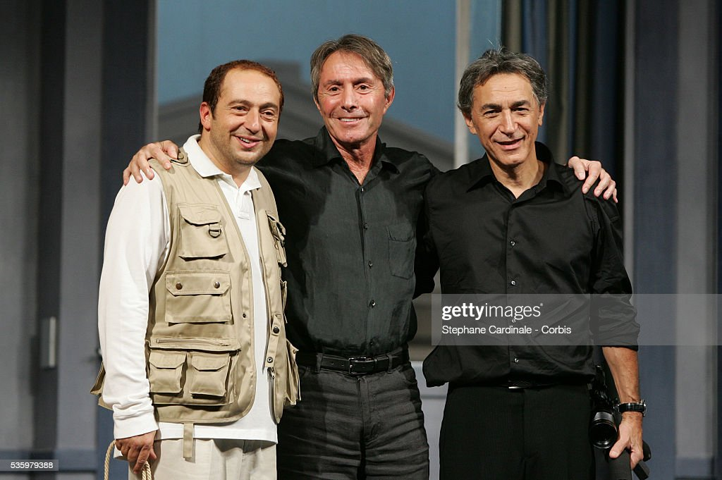 Patrick Timsit, Richard Berry and director Francis Veber perform on stage in Francis Veber's play 'L'Emmerdeur.'
