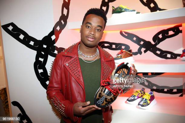 Patrick Toussaint attends the Versace Chain Reaction Sneaker Launch at Versace Boutique on April 26 2018 in New York City