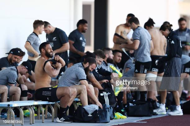 Patrick Tuipulotu and the team arrive for a New Zealand All Blacks Training Session at the Arcs Urayasu Park on October 30 2018 in Urayasu Chiba Japan