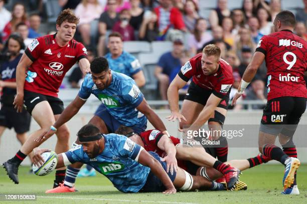 Patrick Tuipulotu, captain of the Blues scores a try during the round 3 Super Rugby match between the Blues and the Crusaders at Eden Park on...