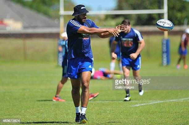 Patrick Tuipulotu during the Auckland Blues training session at City Park on February 17, 2015 in Cape Town, South Africa.