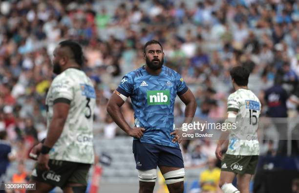 Patrick Tuipulotu from the Blues awaits a referee decision during the round three Super Rugby Aotearoa match between the Blues and the Highlanders at...
