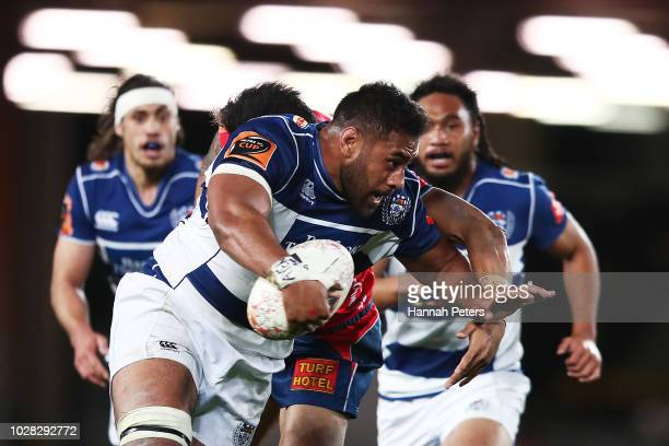 Patrick Tuipulotu of Auckland makes a break of Tasman score a try during the round four Mitre 10 Cup match between Auckland and Tasman at Eden Park...