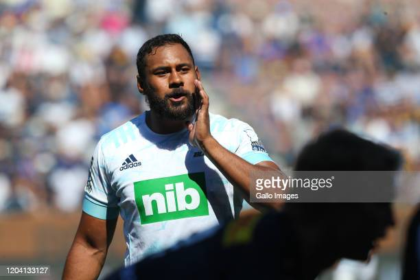 Patrick Tuipulotu of Blues shouts instructions during the Super Rugby match between DHL Stormers and Blues at DHL Newlands on February 29, 2020 in...