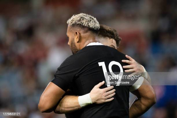 Patrick Tuipulotu of the All Blacks celebrates his try during the Tri-Nations round 5 rugby match between the Argentina Pumas and the New Zealand All...