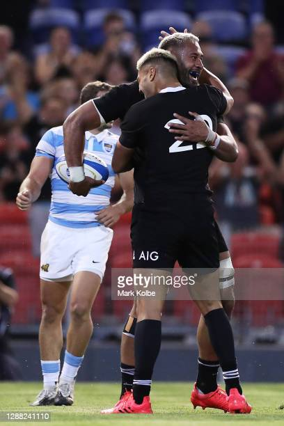 Patrick Tuipulotu of the All Blacks celebrates scoring his try during the 2020 Tri-Nations match between the Argentina Pumas and the New Zealand All...